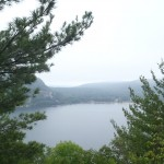 The Fog clearing over Devil's Lake