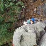 Taking on the Arete (the corner that protrudes)