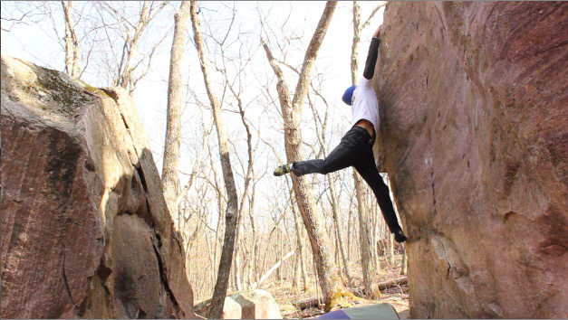 bouldering at Devil's Lake