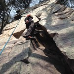 Taking a break on the climb